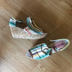 80%20 cork platform canvas sandals 8.5